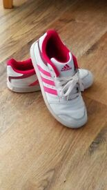 Girls Adidas Pink/White Trainers Size 3