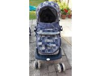 Pram, pushchair and first car seat on frame. 3 in 1 Britax - useful piece of equipment
