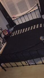 Double 4ft 6 black metal bed frame with diamanté bed ends
