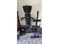 Weight Bench with Barbell, Dumbbells and Weights
