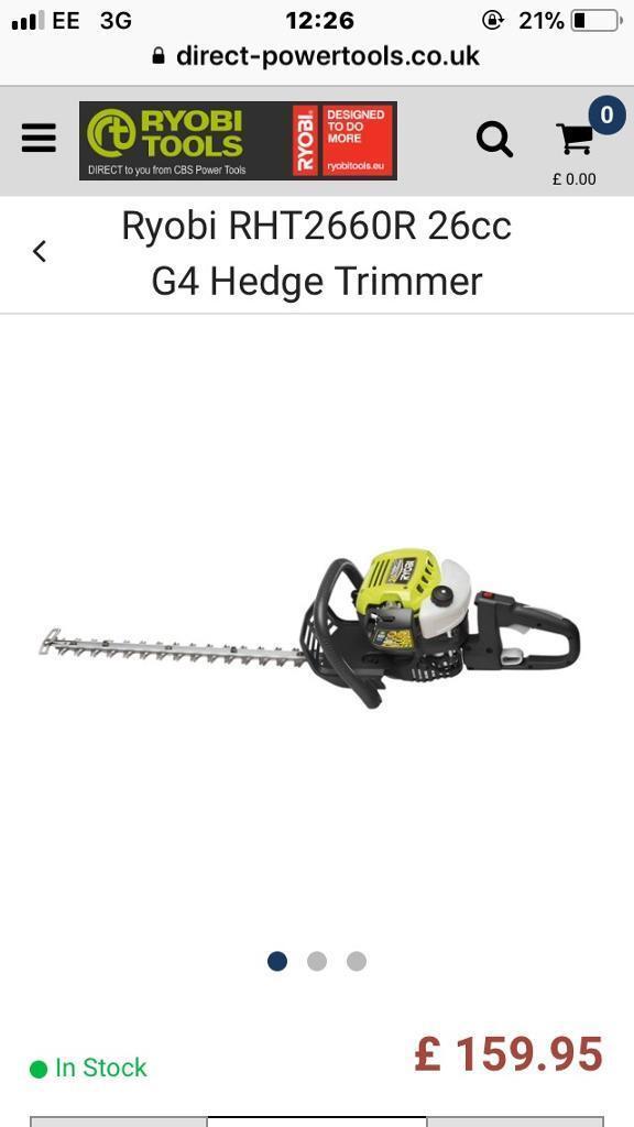 Ryobi petrol 26cc hedge trimmer used twice bargain £50
