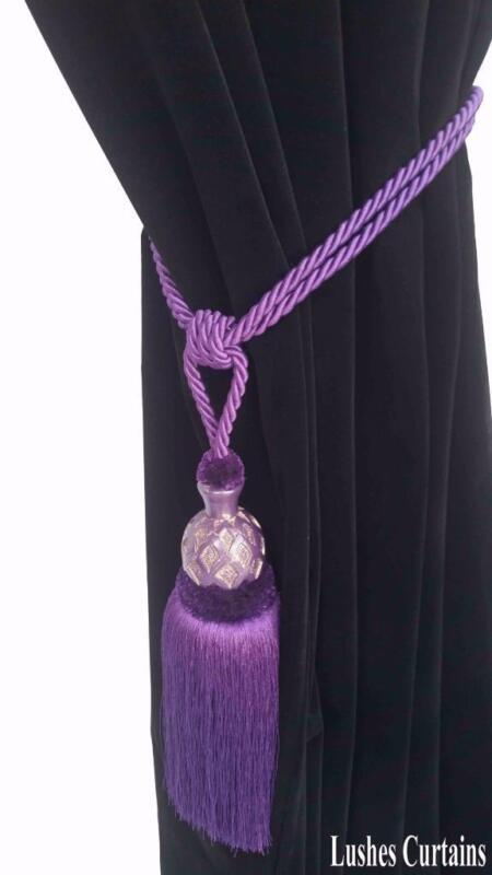 Dark Purple Decorative Window Curtain Drapery Wood/Tassel Rope Tie Back Holdback