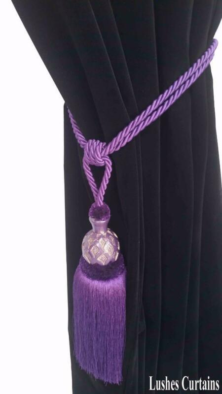 Dark Purple Decorative Window Curtain Drapery Wood/Tassel Rope Tie Back Holdback