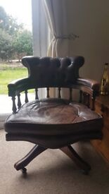 Chesterfield Brown Leather Captains Chair
