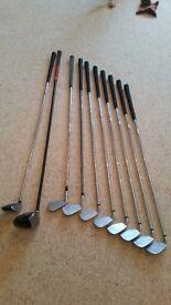 Set of golf clubs SW, PW, 3-9 Iron, Driver & 5 Wood (Wilson, Srixon, Nike)