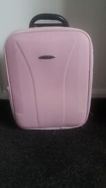 Carry on Suitcase, Flight Hand Luggage, Pink with extendable handle, wheels and top handle