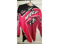 wulfsport race shirt motocross motox quad youth junior kids pink and black age 11-13
