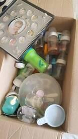 Baby bottles - full box! + steriliser + breast pump