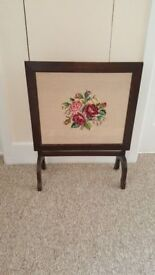 Vintage Folding Oak And Tapestry Table/Fire Screen