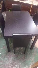 4 seater Dining table with leather chairs - Black