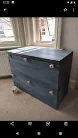 Painted oak veneer drawers