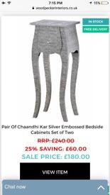 Pair of shabby chic embossed blackened silver Chaandhi Kar bedside tables / cabinets