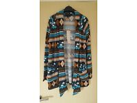 BROWN, TAN, TEAL, TURQUOISE & WHITE PATTERN CARDIGAN - SIZE 10 - BRAND NEW WITH TAGS