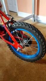 """Kids 14"""" silver fox champion bike"""