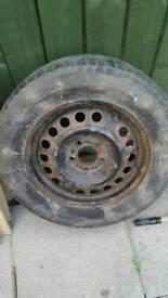 Vauxhuall steel wheel and tyre