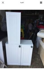 B&Q KITCHEN WALL UNITS COUNTRY WHITE DOORS