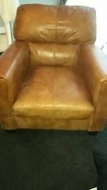 Tan leather sofa & chair