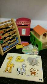 Wooden toys jigsaw puzzle, postbox, abc toy