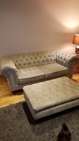 Chesterfield Sofa Suite - 2 & 3 Seater + Footstool - Grey Velour Fabric - Like New