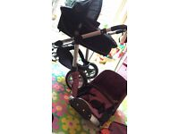 Great condition! Carrycot in black Changes to buggy in deep purple Plus !! Maxi Cosi Car seat