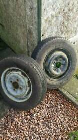 Trailer wheels with nearly new tyres