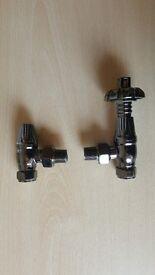 Castrads Chatsworth Black Nickel Angled Thermostatic Radiator Valve & Lockshield