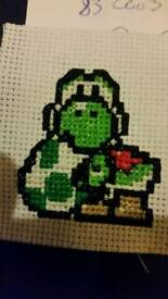 Super Mario yoshi cross stitch framed