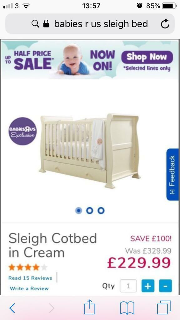 Babies R Us Cream Sleigh Cot Toddler Bed