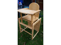 Two lovely wooden highchairs that convert into a chair and a table in few seconds