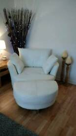 Excellent condition white real leather cuddle chair footstool and cushions