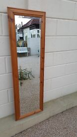 Pine framed Full length bevelled glass mirror in very good condition