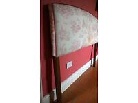 Double headboard - fabric covered & padded mahogany headboard