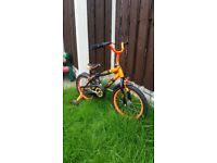 """Boys 16"""" bike with stabilisers can deliver for a small charge"""