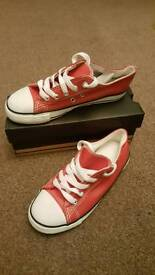 Kids faux leather plain converse style trainers