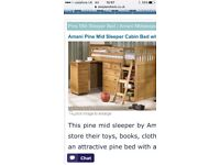 Pine Mid-Sleeper Cabin bed with chest of drawers, desk and bookshelf