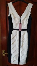 Phase Eight Navy & White Weave Dress Size 12