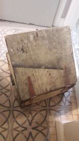 Antique Vintage Wooden Box with Iron Detailing