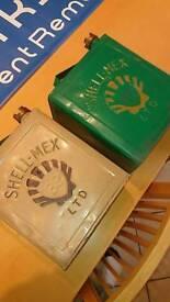 2x Shell Mex Fuel cans Vintage Retro