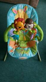Musical, vibrating baby bouncer by Fisher Price