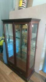 Display case with light solid wood