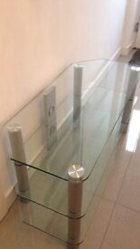 "Glass and chrome Tv stand perfect condition rounded bevelled edges security glass fits 42 "" Tv +"