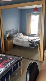 Beech Wardrobe with Mirror Sliding Doors