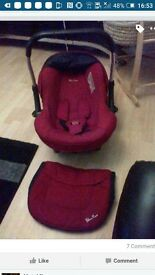 silver cross car seat red with hood and footmuff from birth