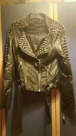 Faux leather size 12 studded jacket