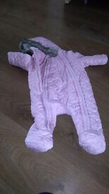 3-6 month pink snow suit