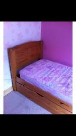 Pine single bed with roll out trundle