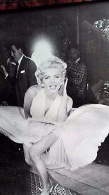 Large Iconic Marilyn Monroe B/W Print in Wood Frame