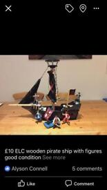 Ghost Gallean Pirate Ship with Pirates