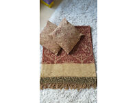 Bed or Sofa Throw with 2 cushions from M&S, single bed size new condition in chenille.