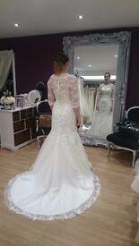 VICTORIA KAY fishtail/mermaid strapless wedding dress IVORY size 12 with lace jacket